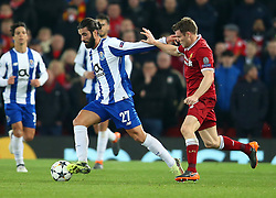 March 6, 2018 - Liverpool, U.S. - 6th March 2018, Anfield, Liverpool, England; UEFA Champions League football, round of 16, 2nd leg, Liverpool versus FC Porto; Sergio Oliviera of Porto fends off James Milner of Liverpool (Photo by Dave Blunsden/Actionplus/Icon Sportswire) ****NO AGENTS---NORTH AND SOUTH AMERICA SALES ONLY****NO AGENTS---NORTH AND SOUTH AMERICA SALES ONLY* (Credit Image: © Dave Blunsden/Icon SMI via ZUMA Press)