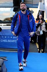 Chelsea's Olivier Giroud arrives at Stamford Bridge before the match