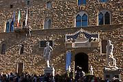 David and Hercules & Cacus statue copies and Palazzo Vecchio in Piazza della Signoria.