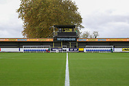 Kingsmeadow/ Cherry Red Records Stadium dug outs during the EFL Sky Bet League 1 match between AFC Wimbledon and Lincoln City at the Cherry Red Records Stadium, Kingston, England on 2 November 2019.