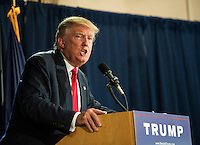 Republican Presidental candidate Donald Trump speaks to a packed house at the Weirs Beach Community Center on Thursday evening.  (Karen Bobotas/for the Laconia Daily Sun)