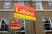 General election placard boards for the Labout candidate Neil Coyle in Walworth, Southwark, on 1st June 2017, in south London, England. Coyle is hoping to keep his small majority from the former Liberal Democrat MP, Simon Hughes in the forthcoming general election, in the constituency of Bermondsey and Old Southwark.