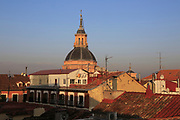 Rooftops in La Latina barrio, Madrid city centre, Spain dome of Real Iglesia San Andrés Apóstol church