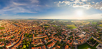 Panoramic aerial view of Pisa, Tuscany, Central Italy