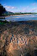 Wailua, Petroglyphs, Kauai, Hawaii, USA<br />