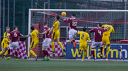 Stenhousemuir's Conor McBrearty (22) scoring their second goal. Half time : Stenhousemuir 2 v 2 Falkirk, 3rd Round of the William Hill Scottish Cup played 24/11/2018 at Ochilview Park, Larbert.