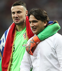 MOSCOW, July 11, 2018  Croatia's goalkeeper Danijel Subasic (L) and head coach Zlatko Dalic celebrate victory after the 2018 FIFA World Cup semi-final match between England and Croatia in Moscow, Russia, July 11, 2018. Croatia won 2-1 and advanced to the final. (Credit Image: © Cao Can/Xinhua via ZUMA Wire)