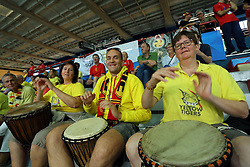 Belgium fans play their drums