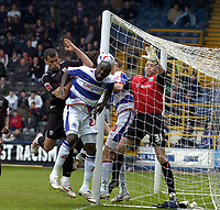 Photo: Olly Greenwood.<br />Queens Park Rangers v West Bromwich Albion. Coca Cola Championship. 31/03/2007. QPR's Paul Furlong heads at goal