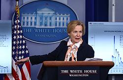 Coronavirus Response Coordinator Ambassador Debbie Birx delivers remarks on the COVID-19 pandemic at the White House in Washington, D.C. on Saturday, April 18, 2020. Photo by Tasos Katopodis/Pool/ABACAPRESS.COM