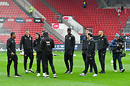 Wolverhampton Wanderers players walking on the pitch on arrival at Ashton Gate Stadium before the The FA Cup 5th round match between Bristol City and Wolverhampton Wanderers at Ashton Gate, Bristol, England on 17 February 2019.