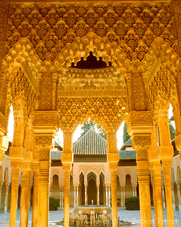SPAIN, ANDALUCIA, GRANADA 14thc. Moorish Alhambra Palace; the Courtyard of the Lions, an enclosed, intimate garden in the Palace residence