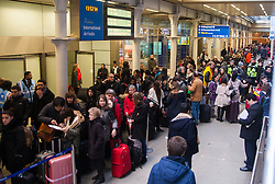 January 17th 2015, St Pancrass International, London. A queue hundreds of metres long forms as thousands of travellers intending to travel to Europe on he Eurostar train are stranded as mixed reports of smoke, carbon doxide and a lorry fre in  the north tunnel cause its closure, forcing the cancellation of all services.