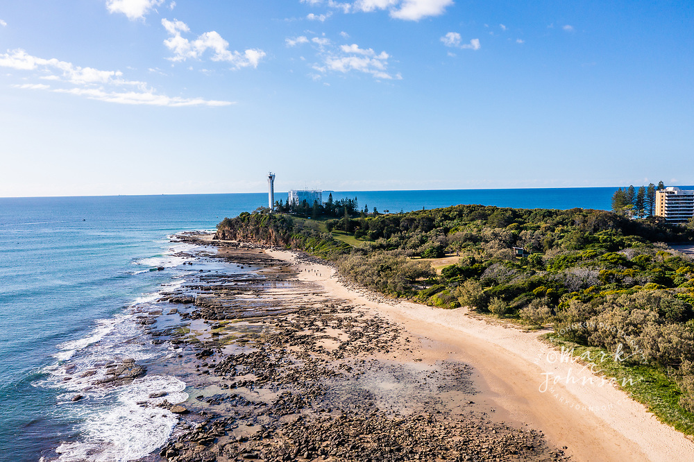 Aerial view of Pt Cartwright Reserve & beach, Sunshine Coast, Queensland, Australia