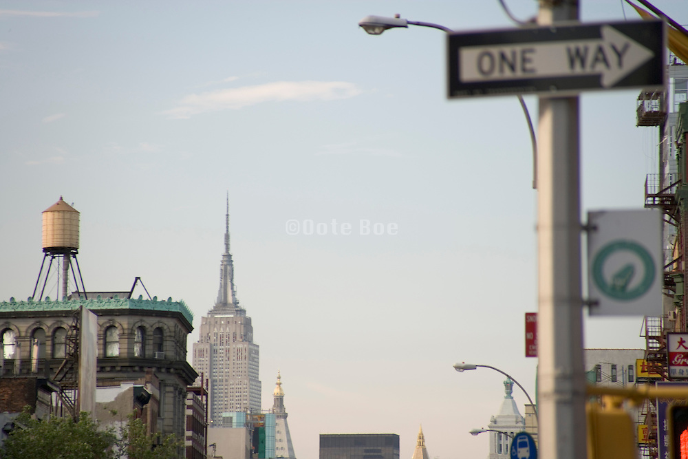 view from the Bowery towards Empire State Building NYC
