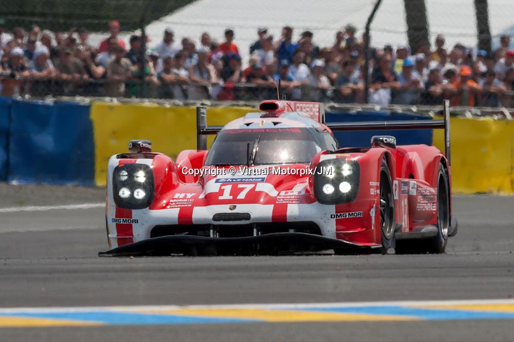#17 Porsche 919 Hybrid, Porsche Team driven by Timo Bernhard, Mark Webber, Brendon Hartley, FP1, Le Mans 24H 2015