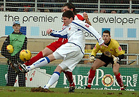 Photo: Ed Godden.<br />Leyton Orient v Carlisle United. Coca Cola League 2. 11/02/2006. <br />Carlisle's Derek Holmes shoots, but is easily saved.
