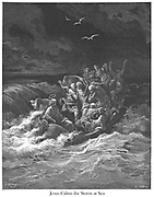 Jesus Stilling the Tempest or Jesus calming the storm [Mark 4:37-38] From the book 'Bible Gallery' Illustrated by Gustave Dore with Memoir of Dore and Descriptive Letter-press by Talbot W. Chambers D.D. Published by Cassell & Company Limited in London and simultaneously by Mame in Tours, France in 1866