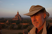 Dawn from the top of the Thabelkhmauk Pagoada, Bagan, Myanmar, (also known as Burma). The Bagan (also spelled Pagan) Plain on the banks of Irrawaddy River in central Myanmar, is the largest area of Buddhist temples, pagodas, stupas and ruins in the world. More than 2,200 remain today, many dating from the 11th and 12 centuries.