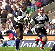 Twickenham. England. RFU Stadium, Surrey. <br /> Photo Peter Spurrier25/05/2003<br /> 2003 - Rugby - England v Barbarians.<br /> Aisea Tuileve running with the ball supported by Jonathen  Bell         [Mandatory Credit: Peter SPURRIER/Intersport Images]