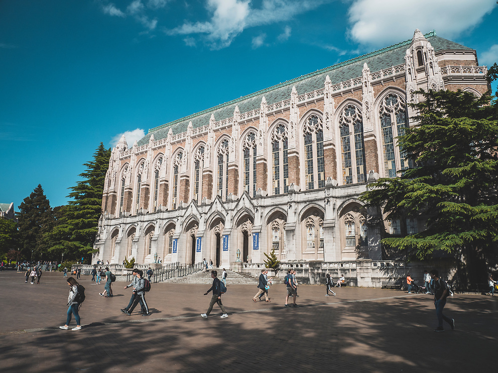 United States, Washington, Seattle, University of Washington main campus. Suzzallo Library is an iconic structure on the campus.