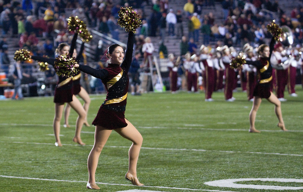 08 November 2008: Eagles cheerleaders perform before the start of the Boston College Eagles win 17-0 over the Notre Dame Fighting Irish at Alumni Stadium in Chestnut Hill, MA.