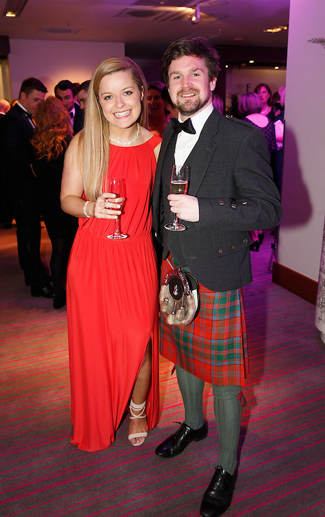 BNO Maggie's Spring Ball at Radisson Hotel Glasgow. L to R :  Laura Moon and Christian Drummond. Picture Robert Perry for The Herald and  Evening Times 23rd April 2016<br /> <br /> Must credit photo to Robert Perry<br /> <br /> FEE PAYABLE FOR REPRO USE<br /> FEE PAYABLE FOR ALL INTERNET USE<br /> www.robertperry.co.uk<br /> NB -This image is not to be distributed without the prior consent of the copyright holder.<br /> in using this image you agree to abide by terms and conditions as stated in this caption.<br /> All monies payable to Robert Perry<br /> <br /> (PLEASE DO NOT REMOVE THIS CAPTION)<br /> This image is intended for Editorial use (e.g. news). Any commercial or promotional use requires additional clearance. <br /> Copyright 2016 All rights protected.<br /> first use only<br /> contact details<br /> Robert Perry     <br /> 07702 631 477<br /> robertperryphotos@gmail.com<br />         <br /> Robert Perry reserves the right to pursue unauthorised use of this image . If you violate my intellectual property you may be liable for  damages, loss of income, and profits you derive from the use of this image.