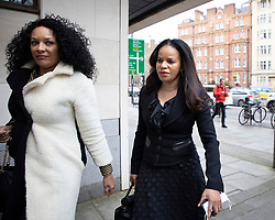 © Licensed to London News Pictures. 16/03/2021. London, UK. MP Claudia Webbe(R) arrives at Westminster Magistrates Court .She is charged with one count of harassment and the trial is expected to last for one day.  Photo credit: George Cracknell Wright/LNP