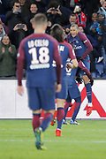 Kylian Mbappe (PSG) scored a goal, celebration, Neymar da Silva Santos Junior - Neymar Jr (PSG), Edinson Roberto Paulo Cavani Gomez (psg) (El Matador) (El Botija) (Florestan), Giovani Lo Celso (PSG) during the French championship L1 football match between Paris Saint-Germain (PSG) and Dijon, on January 17, 2018 at Parc des Princes, Paris, France - Photo Stephane Allaman / ProSportsImages / DPPI