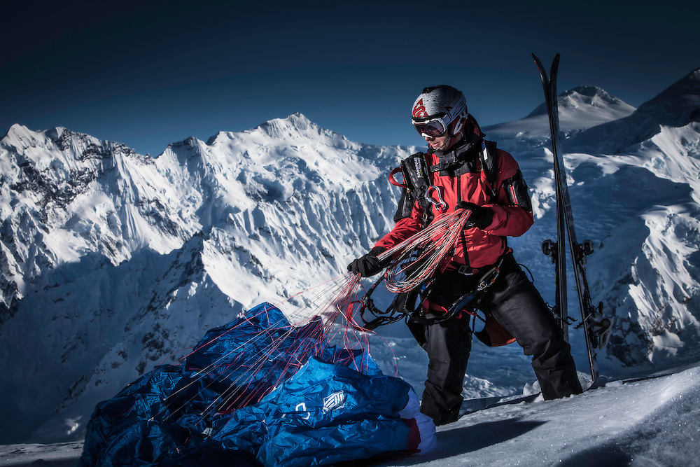 Filippo Fabbi poses for a portrait while filming for the Unrideables in the Tordrillo Mountains near Anchorage, Alaska on April 22th, 2014.
