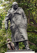 Statue of Winston Churchill with Lloyd George in the background, Parliament Square, Westminster, London