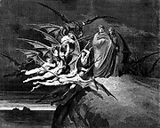 Dante and Virgil beset by demons, passing through Hell, From the Divine Comedy by 14th century Italian poet Dante Alighieri. 1860 artwork, by French artist Gustave Dore and engraved by Stephane Pannemaker, from 'The Vision of Hell' (1868), Cary's English translation of the Inferno. Dante wrote his epic poem 'Divina Commedia' (The Divine Comedy) between 1308 and his death in 1321. Consisting of 14,233 lines, and divided into three parts (Inferno, Purgatorio, and Paradiso), it is considered the greatest literary work in the Italian language and a world masterpiece. It is a comprehensive survey of medieval theology, literature and thought. The new non-dialect poetic language Dante created became the basis of modern Italian.