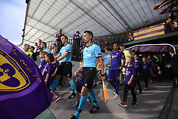Referees and players of Maribor and Valur before 2nd Leg Football match between NK Maribor (SLO) and Valur Reykjavík (ISL) in First qualifying round of UEFA Champions League 2019/20, on July 17, 2019, in Stadium Ljudski vrt, Maribor, Slovenia. Photo by Milos Vujinovic / Sportida