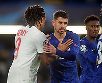 Football - 2019 / 2020 UEFA Champions League - Group H: Chelsea vs. Lille OSC<br /> <br /> Ex Chelsea player Loic Remy embraces with Jorginho after the match, at Stamford Bridge.<br /> <br /> COLORSPORT/ANDREW COWIE