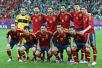 Football - European Championships 2012 - Spain vs. Ireland<br /> Spain team group at the Baltic Arena, Gdansk<br /> Back row (L-R): Iker Casillas, Xabi Alonso, Sergio Ramos, Sergio Busquets, Gerard Pique, Fernando Torres<br /> Front row (L-R): Andres Iniesta, David Silva, Xavi Hernandez, Alvaro Arbeloa, Jordi Alba