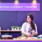 A chef demotration at London Muslim Shopping Festival 2019 on 14 April 2019 at Olympia London, UK.