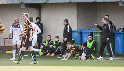 Alloa Athletic's manager Barry Smith reacts to a tackle by Falkirk's Phil Roberts, who gets a second yellow card.<br /> Alloa Athletic 3 v 0 Falkirk, Scottish Championship game played today at Alloa Athletic's home ground, Recreation Park.<br /> © Michael Schofield.