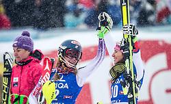 29.12.2014, Hohe Mut, Kühtai, AUT, FIS Ski Weltcup, Kühtai, Slalom, Damen, Siegerehrung, im Bild v.l.: zweite Sarka Strachova (CZE), Siegerin Mikaela Shiffrin (USA) und dritte Wendy Holdener (SUI) // f.l.: second placed Sarka Strachova of Czech Republic, Winner Mikaela Shiffrin of the USA ad third placed Wendy Holdener of Switzerland celebrates on Podium during the award ceremony after Ladies Giant Slalom of the Kuehtai FIS Ski Alpine World Cup at the Hohe Mut Course in Kuehtai, Austria on 2014/12/29. EXPA Pictures © 2014, PhotoCredit: EXPA/ JFK