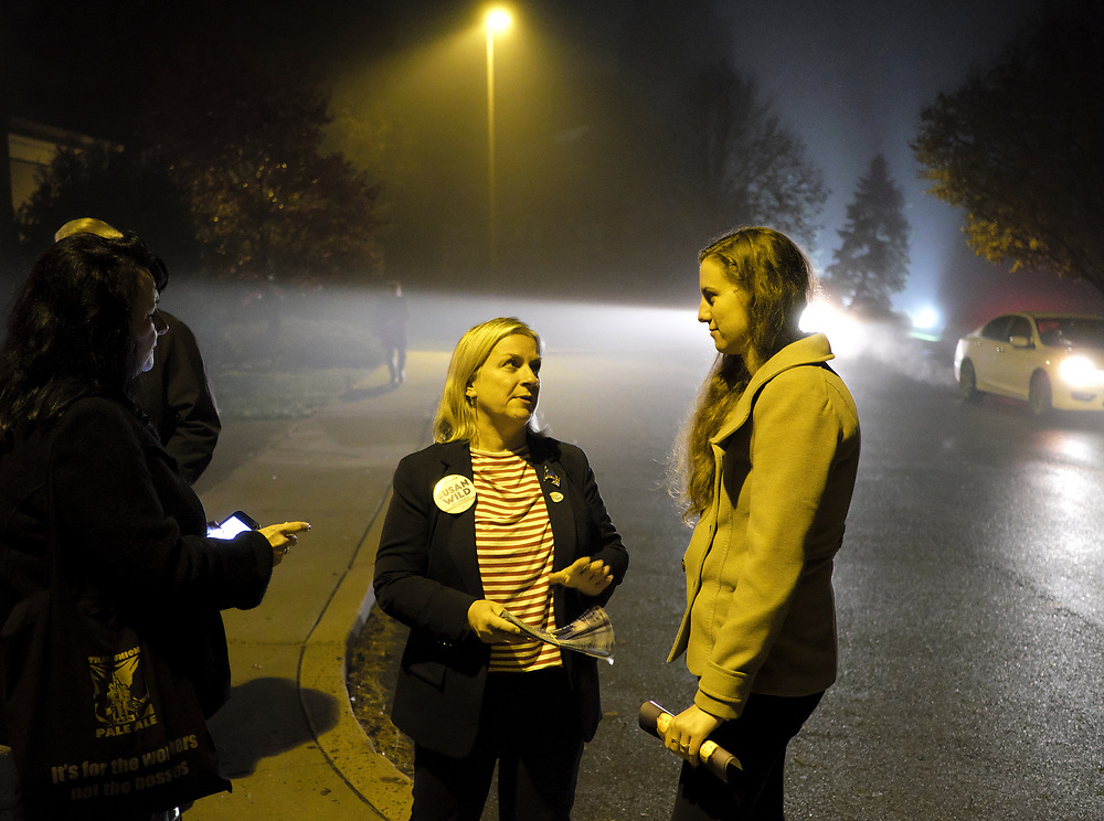 Susan Wild, Democratic candidate for Pennsylvania's new 7th Congressional District, talks to a staff member Nov. 6, 2018, outside a voting location at Wesley United Methodist Church in Bethlehem, Pennsylvania.