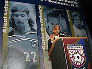 28 August 2006: Sunil Gulati presents Alexi Lalas (not pictured) for induction to the Hall of Fame. The National Soccer Hall of Fame Induction Ceremony was held at the National Soccer Hall of Fame in Oneonta, New York.