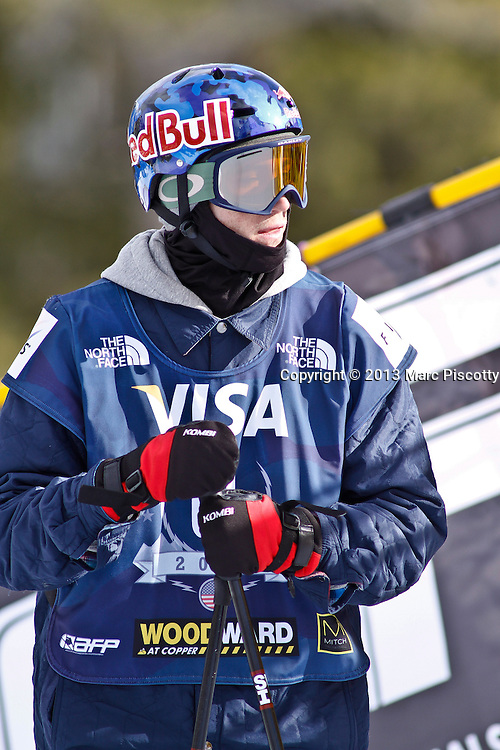 SHOT 12/19/13 1:26:07 PM - Noah Bowman of Calgary, Alberta gets ready to compete in the Men's Ski Halfpipe Qualifiers at the U.S. Snowboarding and Freeskiing Grand Prix on December 19, 2013 at Copper Mountain, Colorado.<br /> (Photo by Marc Piscotty / © 2013)