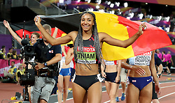 Belgium's Nafissatou Thiam celebrates winning gold in the Women's Heptathlon during day three of the 2017 IAAF World Championships at the London Stadium. PRESS ASSOCIATION Photo. Picture date: Sunday August 6, 2017. See PA story ATHLETICS World. Photo credit should read: Martin Rickett/PA Wire. RESTRICTIONS: Editorial use only. No transmission of sound or moving images and no video simulation.