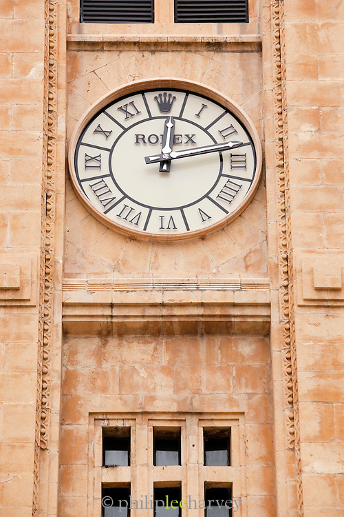 The vintage Rolex clock in the Clocktower at Place d'Etoile (Nejmeh Square) in Beirut, Lebanon