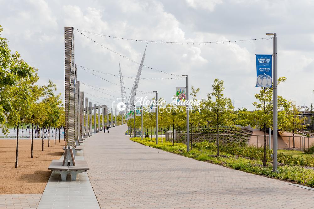 A sidewalk leading to the Skydance Bridge at Scissortail Park in Oklahoma City.