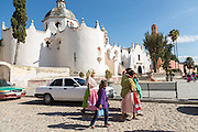Indigenous pilgrims walk to the Sanctuary of Atotonilco an important Catholic shrine in Atotonilco, Mexico.