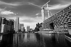 Millwall Inner Dock. Cranes have become a symbol of London skyline, a costant presence that is evolving London cityscape.