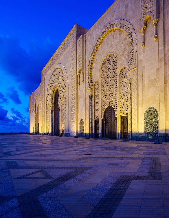 CASABLANCA, MOROCCO - CIRCA APRIL 2018: Exterior of the mosque  Hassan II in Casablanca at night.