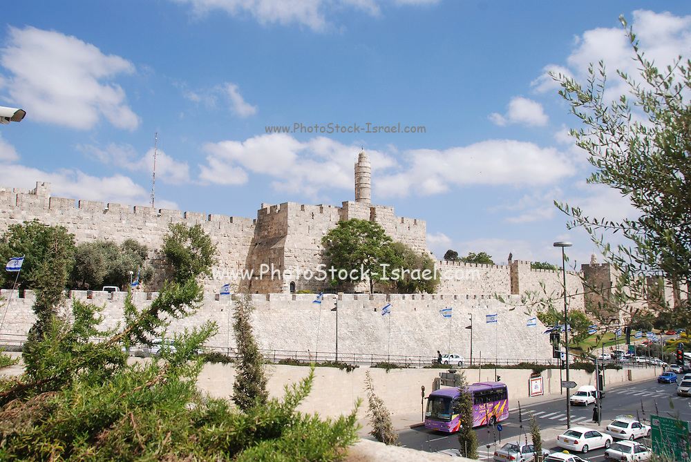 Israel, Jerusalem, The walls of the old city and the Tower of David May 2008
