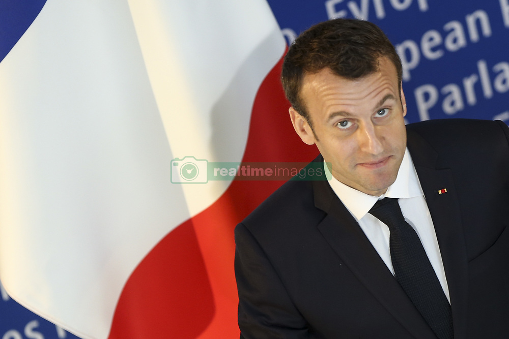 April 17, 2018 - Strasbourg, France - French President Emmanuel Macron stands next to European Parliament President Antonio Tajani at the EU parliament in the eastern French city of Strasbourg. French President Emmanuel Macron arrived to address the European Parliament for the first time in a bid to shore up support for his ambitious plans for post-Brexit reforms of the EU. (Credit Image: © Elyxandro Cegarra/NurPhoto via ZUMA Press)