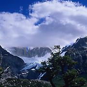 Piedras Blance Glacier just below the clouds in clouds in Parque Nacional las Glaciares, Patagonia, Argentina.